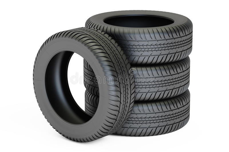 Stack of automobile tires, 3D rendering. On white background vector illustration