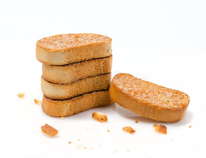 Stack av zwieback sprinklad med socker royaltyfri foto