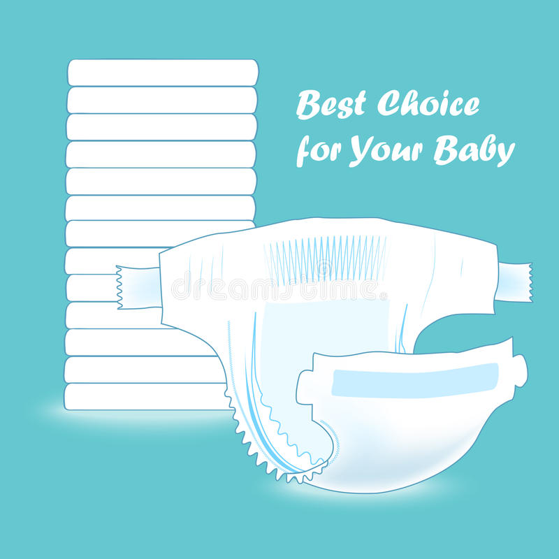 Stack of baby diapers and the open diaper in front. Absorbent diaper. Realistic vector illustration for kids production stock illustration