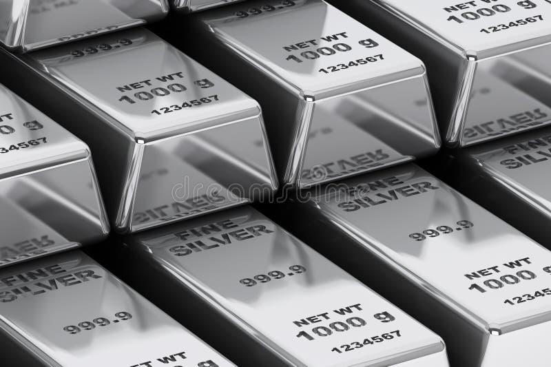 Stack of Bank Silver Bars closeup royalty free illustration