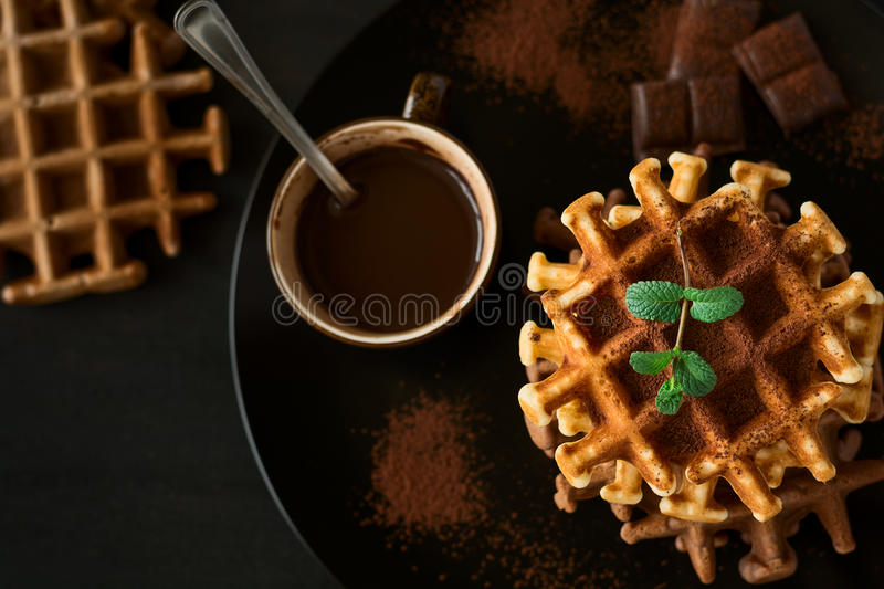 Stack Belgian waffles iced cocoa with chocolate sauce decorated mint leaves o stock photography