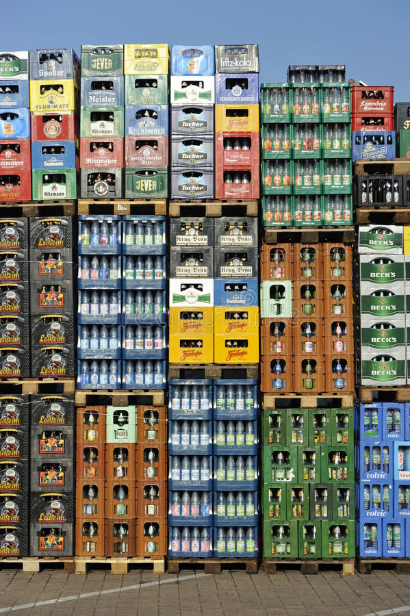 Stack of Beverage Crates. Crates filled with empty returnable bottles of different local and international beverage manufacturers stock photos