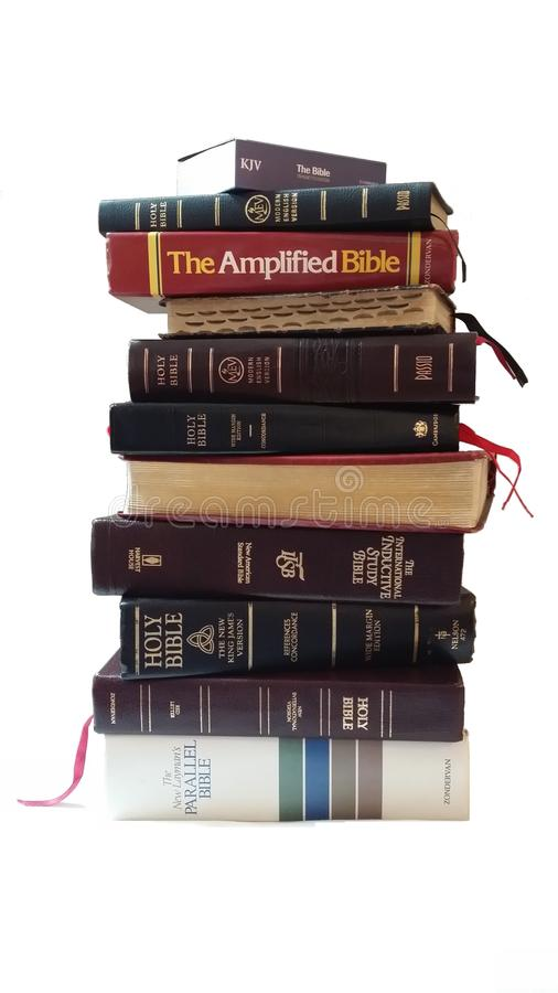 Stack of Bible Versions. Bible Versions white background. Can make Transparent stock image