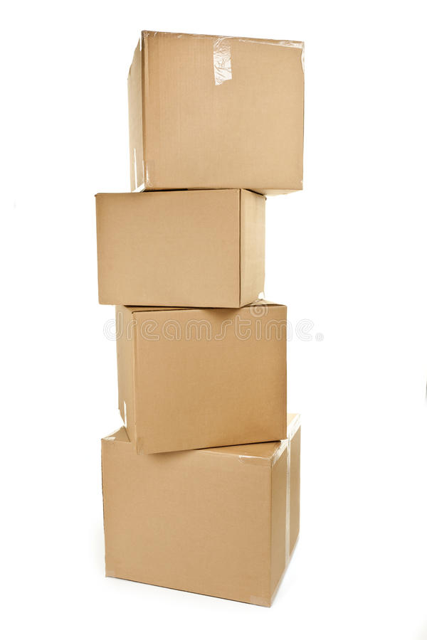 Stack of big cardboard boxes stock photography