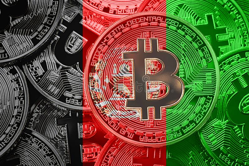 Stack of Bitcoin Afghanistan flag. Bitcoin cryptocurrencies concept. BTC background. royalty free illustration