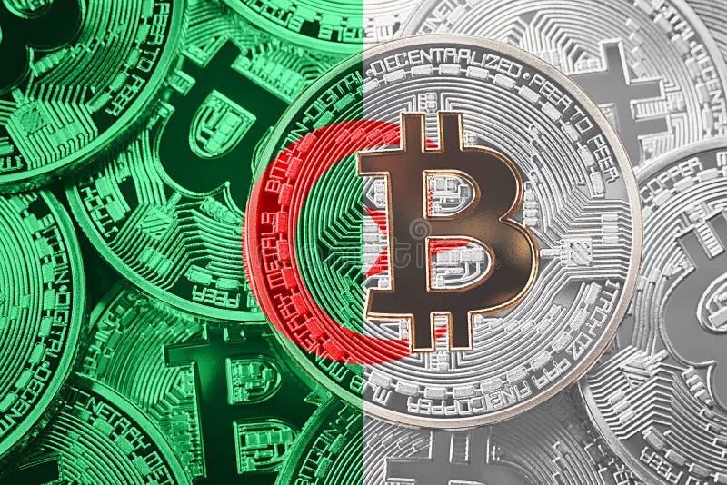 Stack of Bitcoin Algeria flag. Bitcoin cryptocurrencies concept. vector illustration