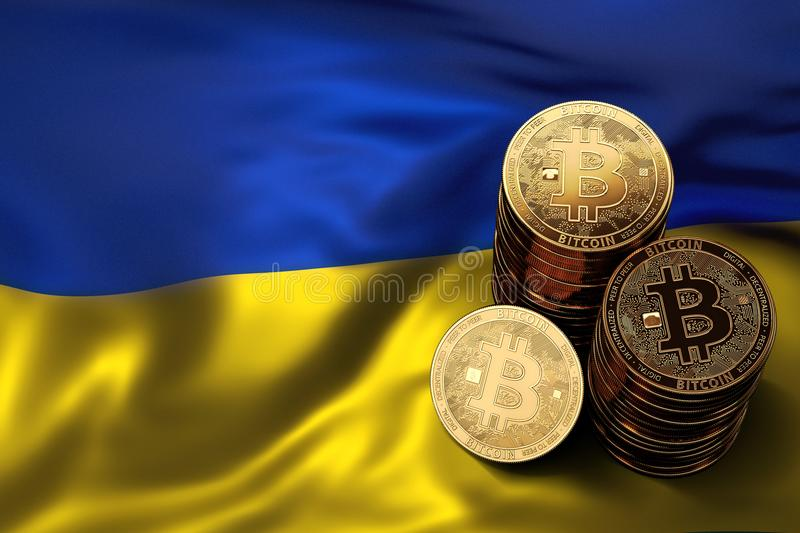 Stack of Bitcoin coins on Ukrainian flag. Situation of Bitcoin and other cryptocurrencies in Ukraine. Concept. 3D Rendering royalty free illustration