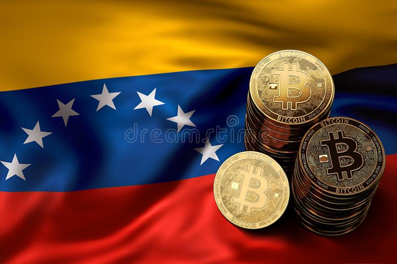 Stack of Bitcoin coins on Venezuelian flag. Situation of Bitcoin and other cryptocurrencies in Venezuela vector illustration