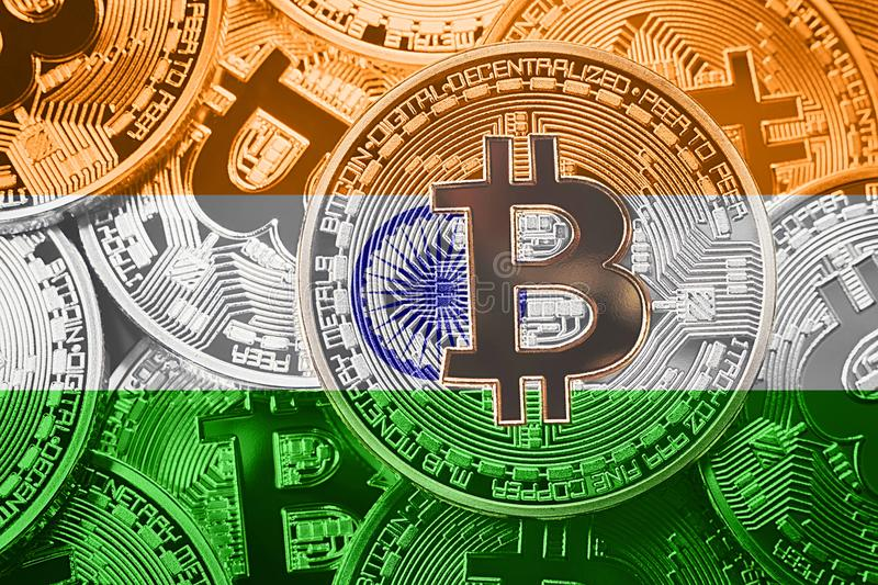 Stack of Bitcoin India flag. Bitcoin cryptocurrencies concept. B. TC background royalty free stock photos