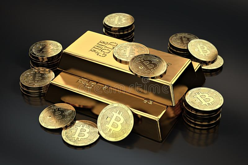 Stack of Bitcoins and gold ingots bullion bar. Cryptocurrencies as a future gold most precious commodity in the world. 3D rendering vector illustration