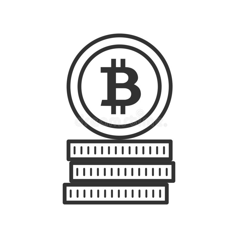 Stack of Bitcoins Outline Flat Icon on White royalty free stock images