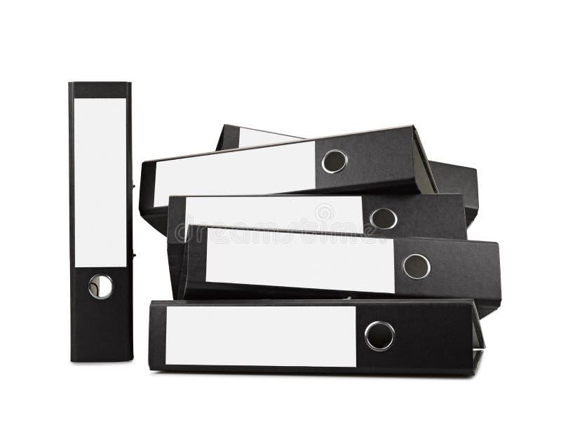 Stack of black office folders