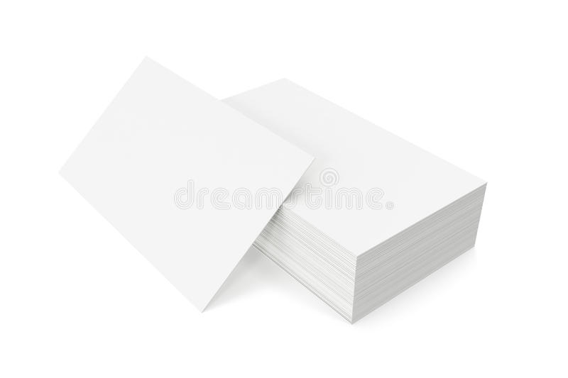 Stack of blank business card on white background. 3d rendering stock photo