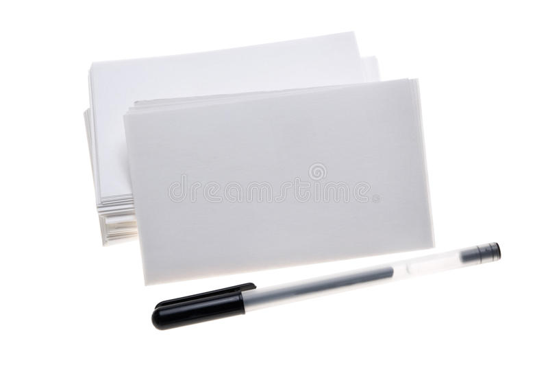 Stack of blank note cards stock image