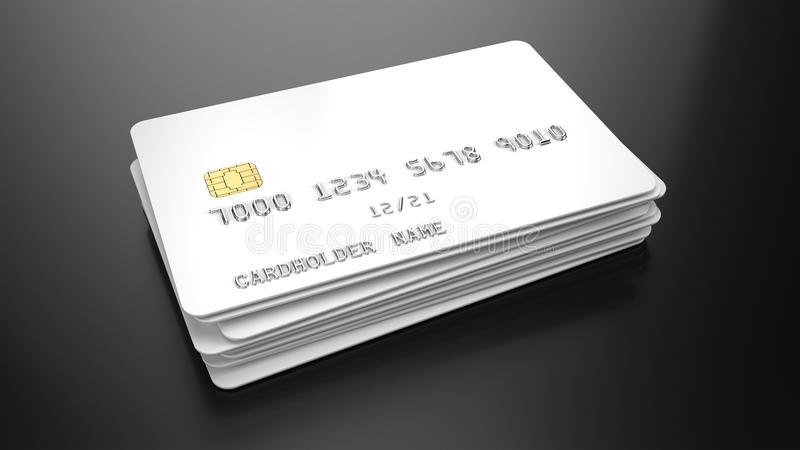 Stack of Blank white credit cards template on black background royalty free illustration
