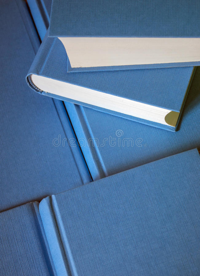 Stack of blue books. stock photography