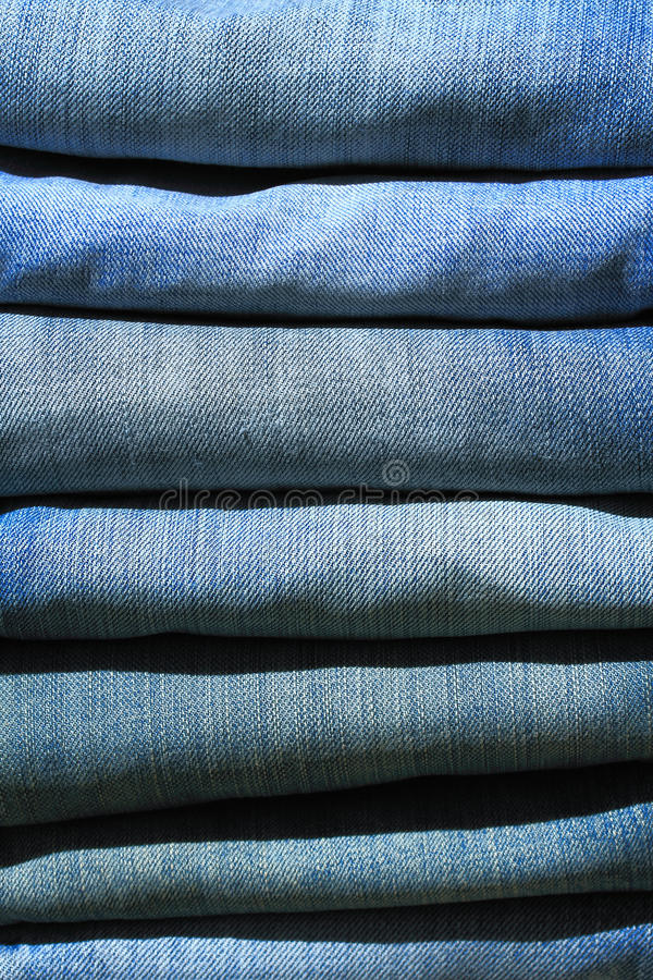Download Stack of blue jeans stock image. Image of pile, fashion - 15945543