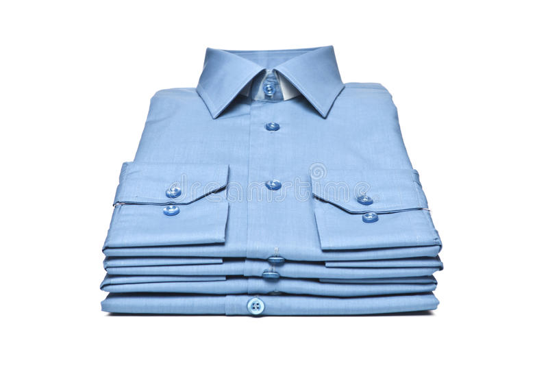Stack Of Blue Shirt Royalty Free Stock Photos