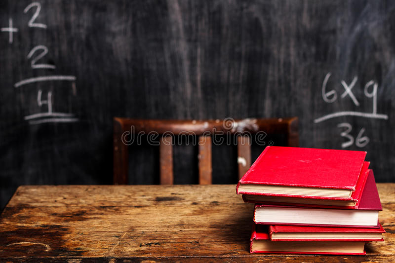Stack Of Books By Blackboard With Bad Math Royalty Free