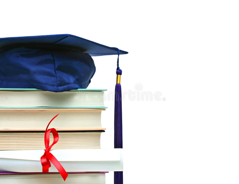 Download Stack Of Books With Cap And Diploma On White Stock Image - Image: 9717621