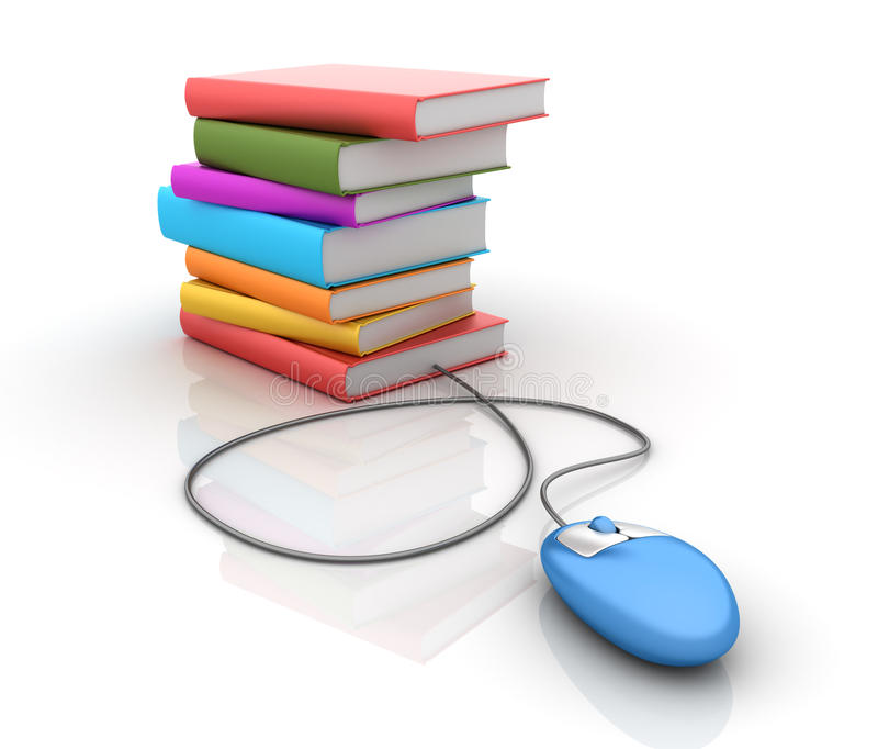 Stack of books with Computer Mouse vector illustration