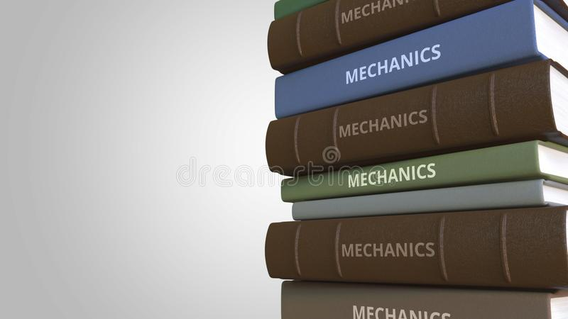 Book with MECHANICS title, 3D rendering. Stack of books. 3D rendering stock illustration