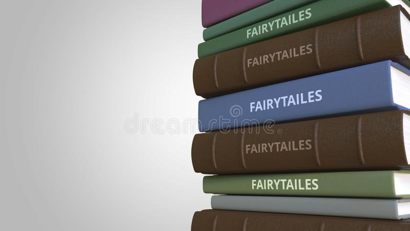 Stack of fairytale books, 3D rendering royalty free illustration
