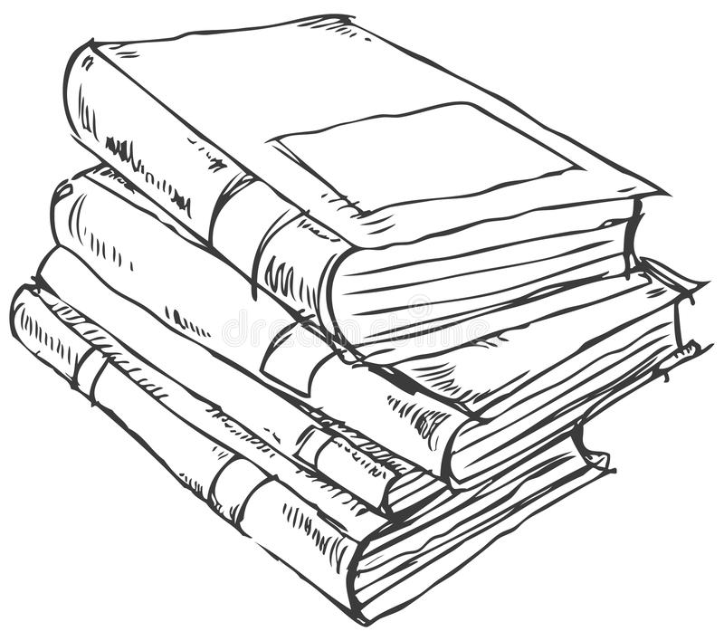 Stack of books doodle stock illustration
