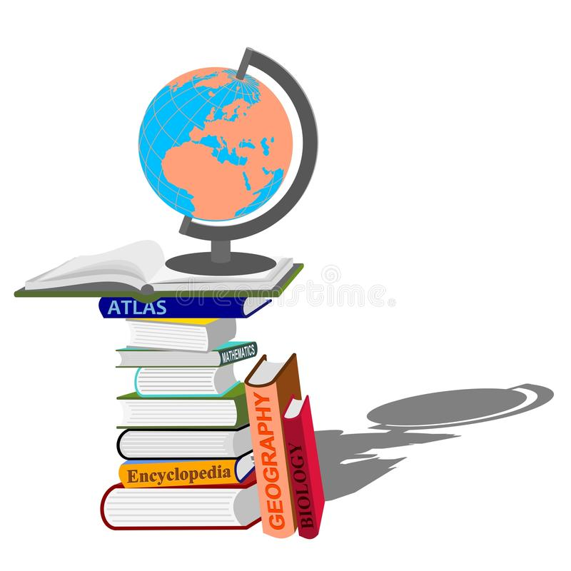 Stack Of Books With Globe Stock Photo