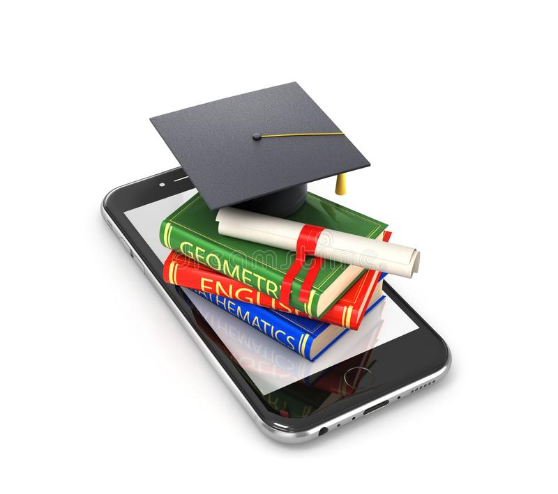 Stack of books having a diploma and a graduate cap, on a mobile phone. The concept of a step towards science and education. royalty free illustration