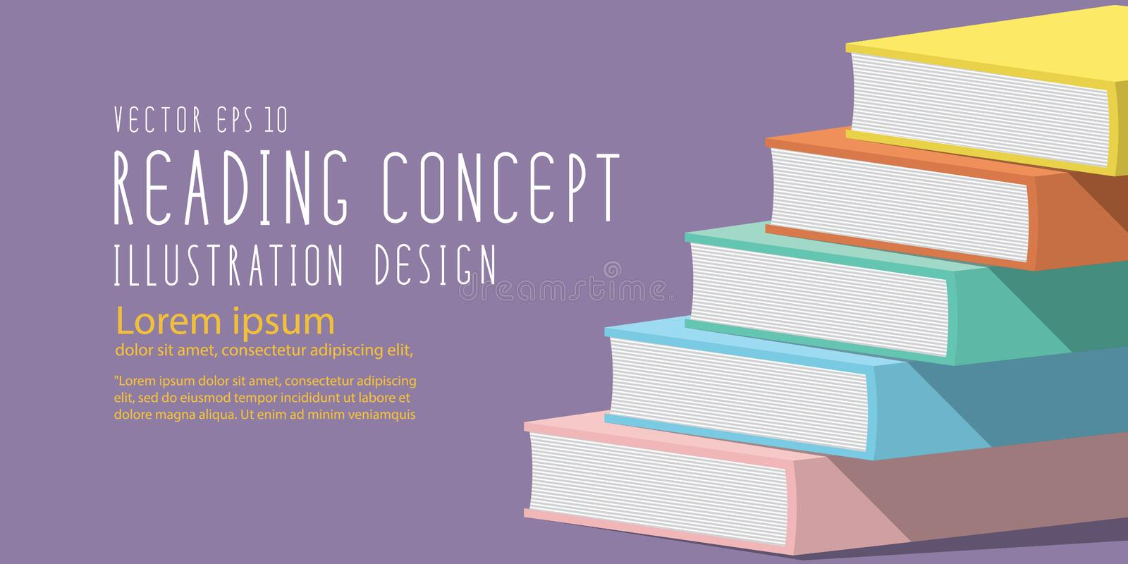 Stack of books heading banner flat vector. Illustration vector stack of books heading banner flat style vector illustration