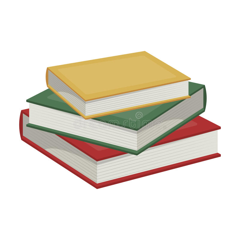 Stack of books icon in cartoon style isolated on white background. Library and bookstore symbol stock illustration