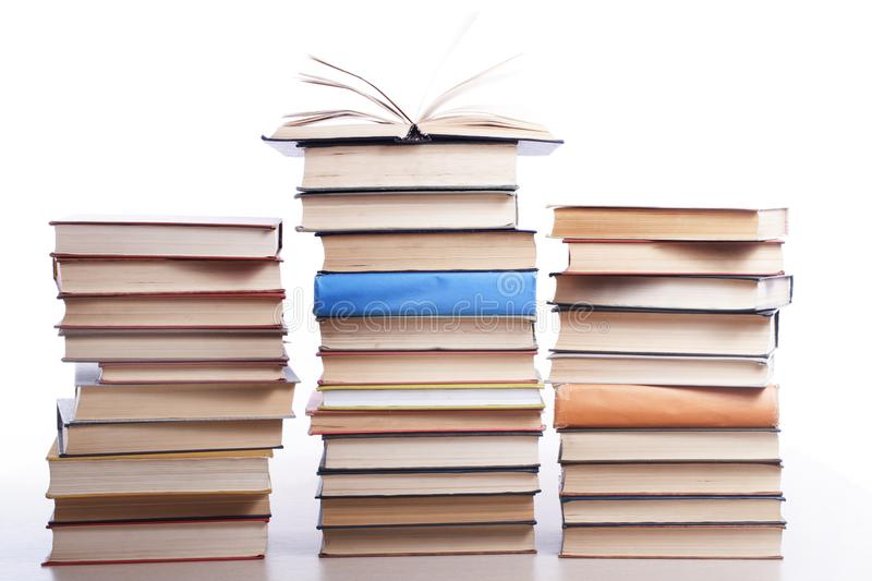 Stack of books isolated on white background. Education concept. Back to school. royalty free stock photography