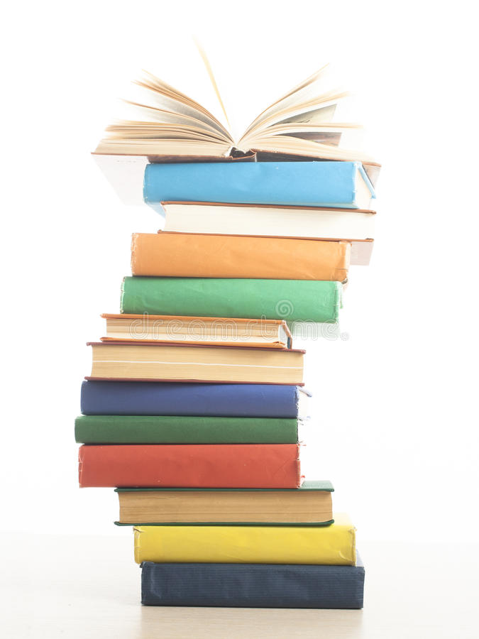 Stack of books isolated on white background. Education concept. Back to school. royalty free stock images