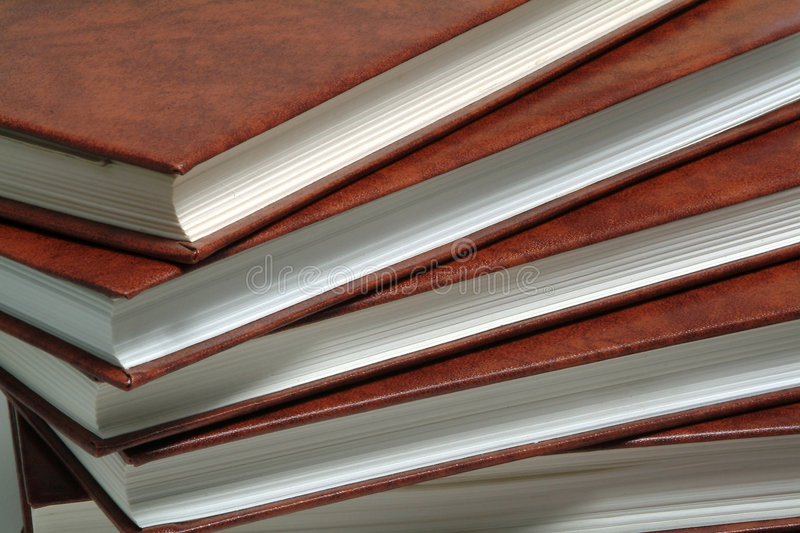 Stack of books with leather cover