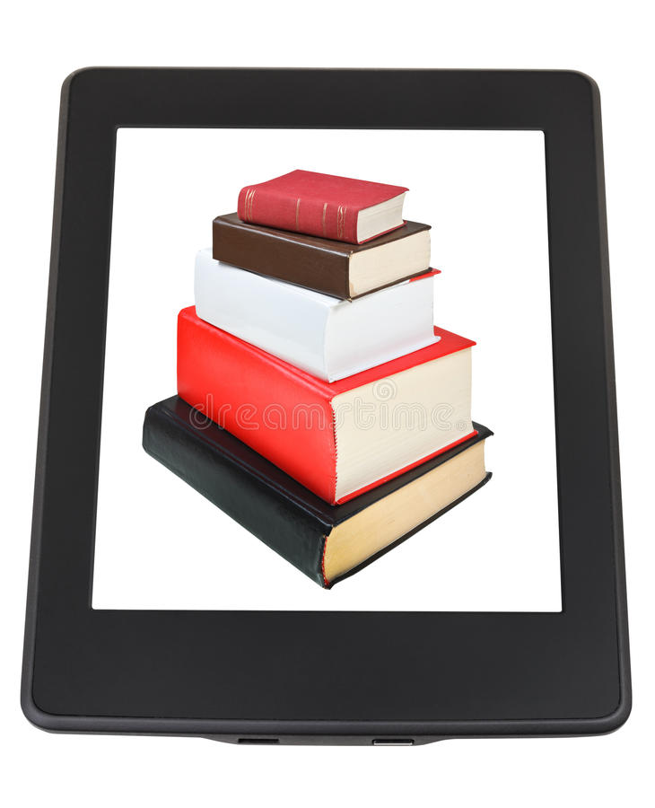 Stack of books on screen of e-book reader stock photo