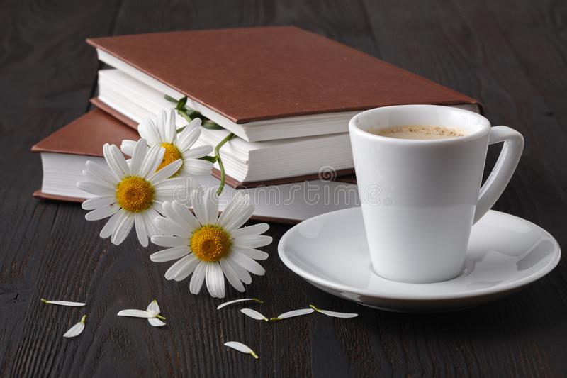 Stack of books with small bunch of daisies royalty free stock photos