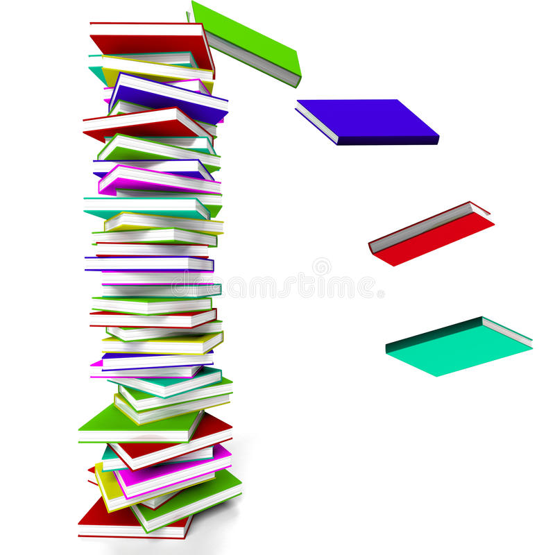 Stack Of Books With Some Falling vector illustration