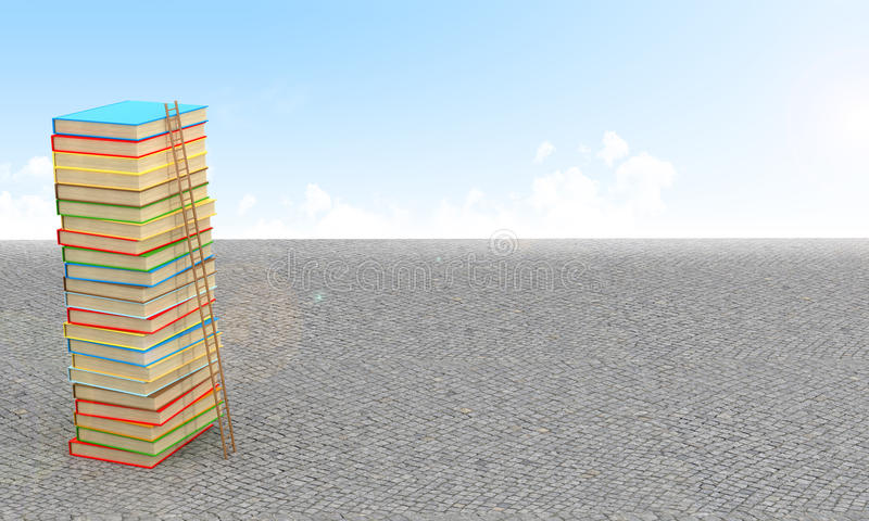 Stack of books, surrounded by sky and pavement. vector illustration