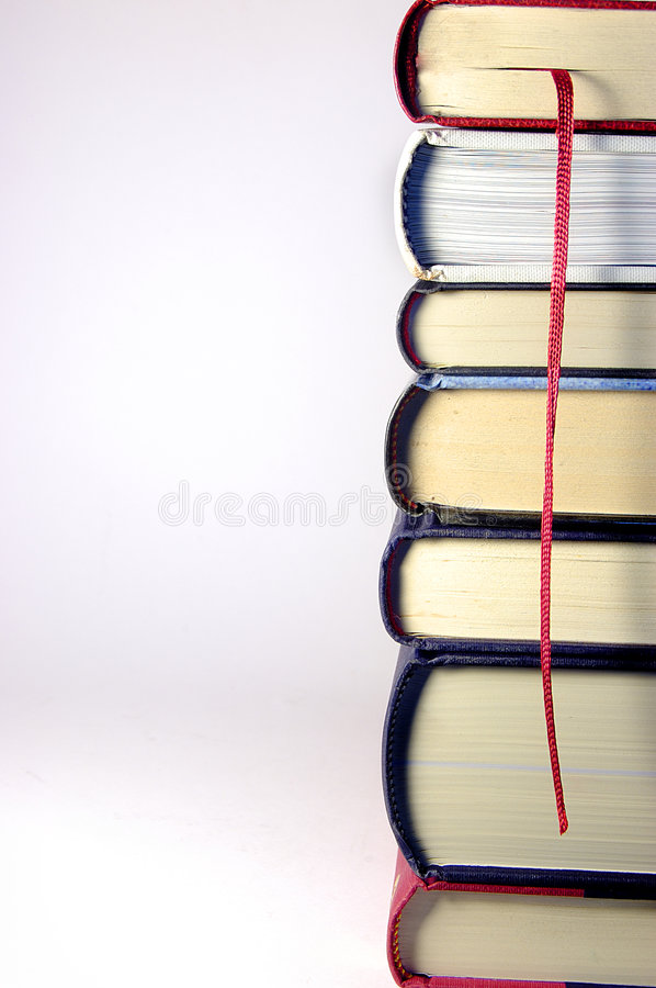 Stack of Books in a tower with royalty free stock photo