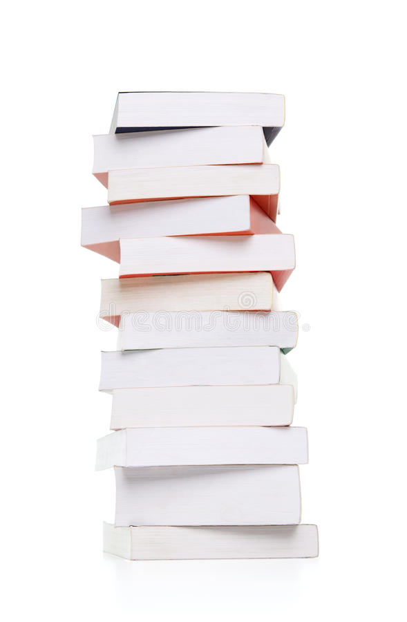 Stack of books on white stock image