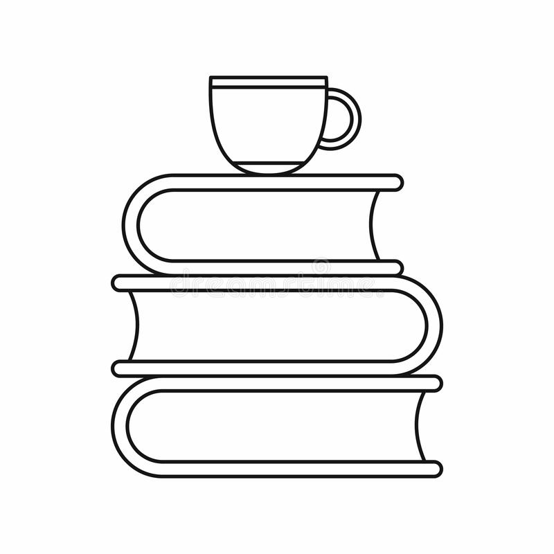 Stack of books and white cup icon vector illustration