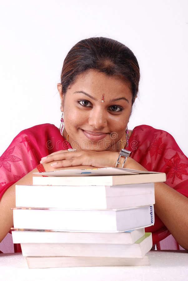 Download Stack of books with woman stock image. Image of asian - 4457581