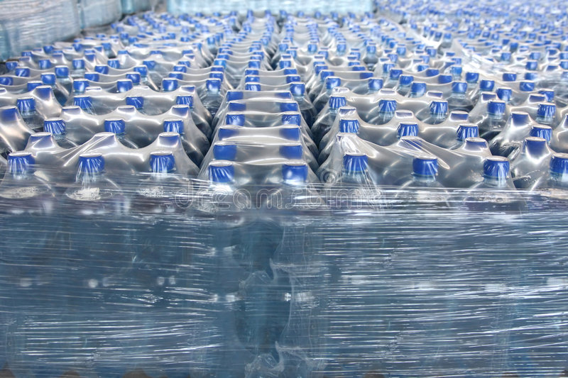 Stack bottled water stock photography