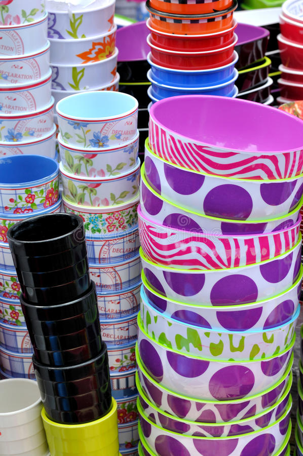 Download Stack Of Bowls And Cups In Various Color Stock Photo - Image: 23001292