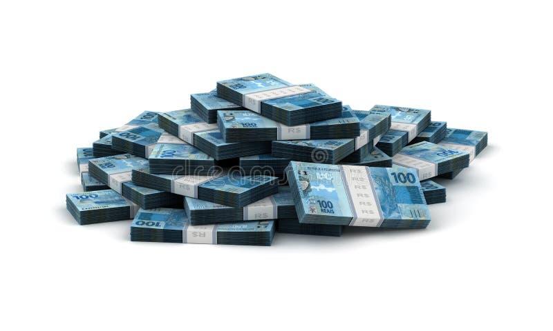Stack of Brazilian Real stock image