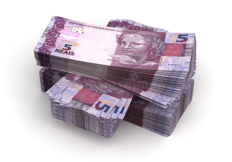 Stack of Brazilian Real stock photos