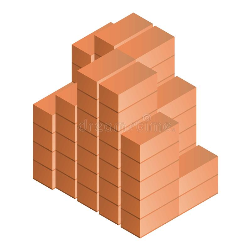 Stack of brick icon, isometric style vector illustration