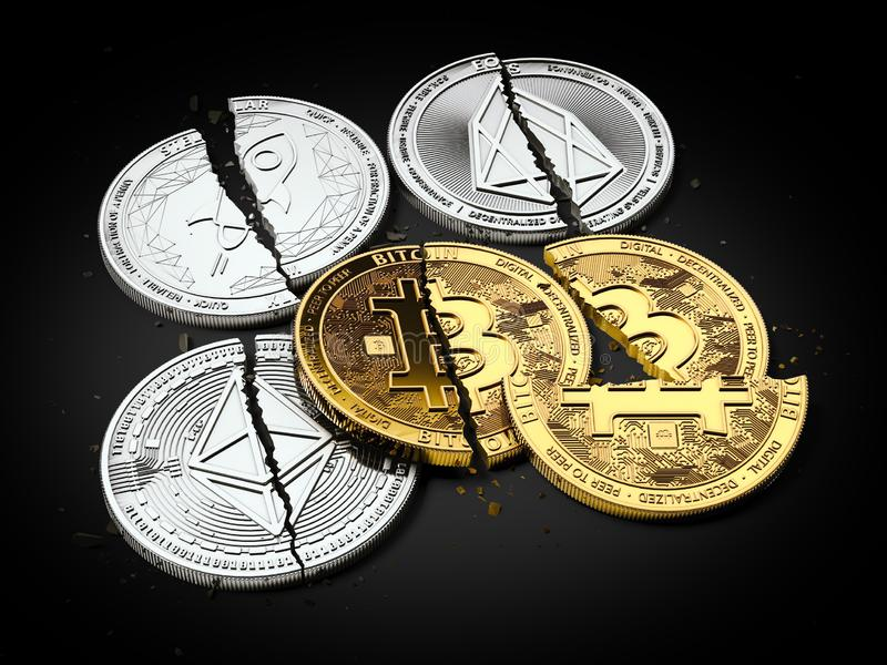 Stack of broken or cracked Bitcoin and altcoins coins laying on black background. Bitcoin crash concept. 3D rendering royalty free illustration