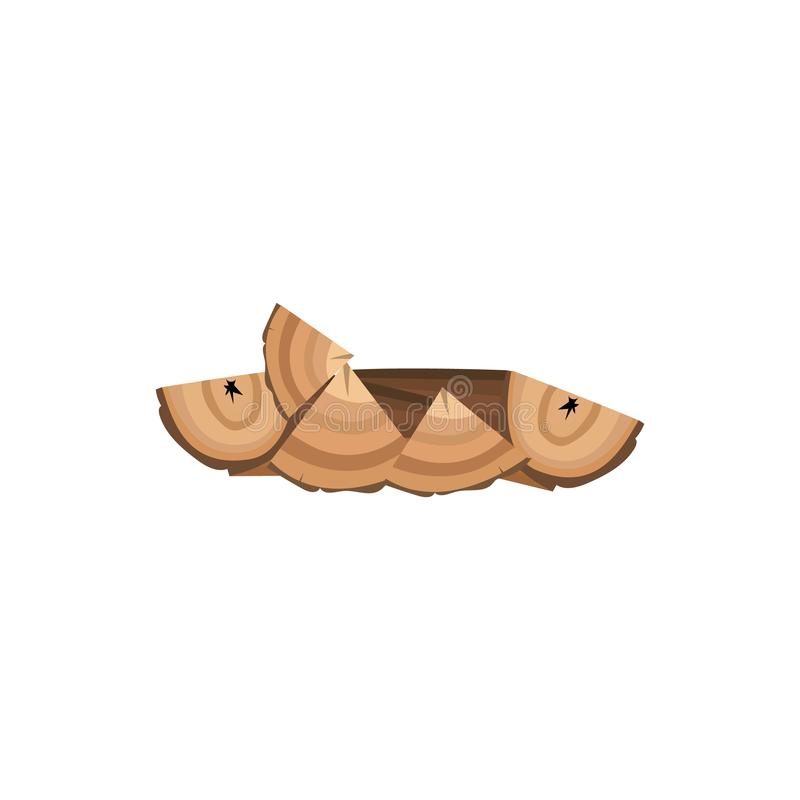 Stack of brown firewood lying on ground isolated on white background. Tree wood pieces chopped in triangle shapes and laid to dry - flat cartoon vector stock illustration
